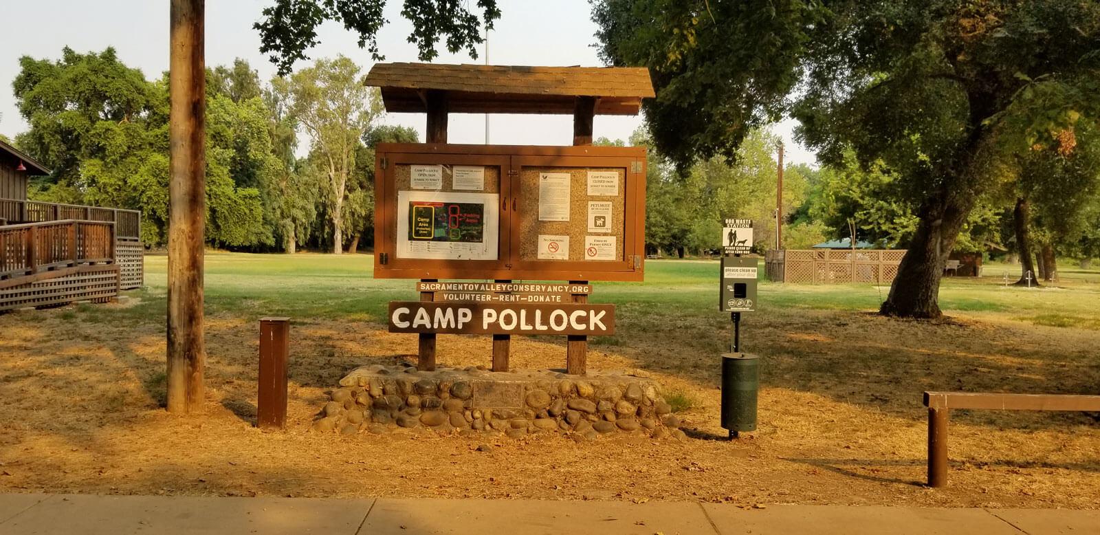 camp pollock signage
