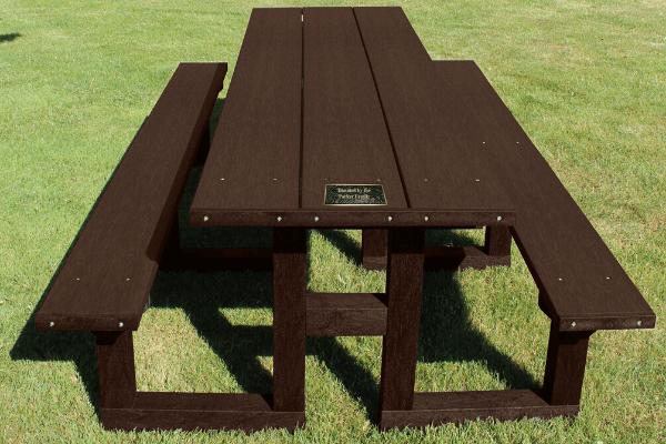 brown picnic table